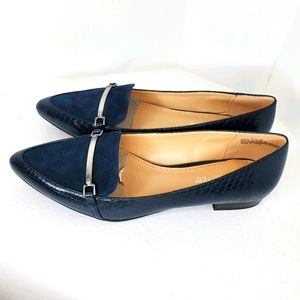 New the Limited Loafers navy blue sz 7.5 M leather